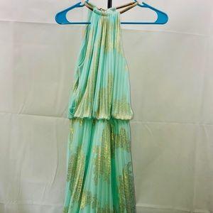 xscape pleated halter dress mint green maxi dress